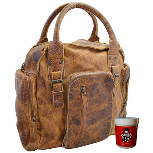 BARON of MALTZAHN Men's citybag - briefcase JAGOS of brown Rugged-hide leather - leather care included