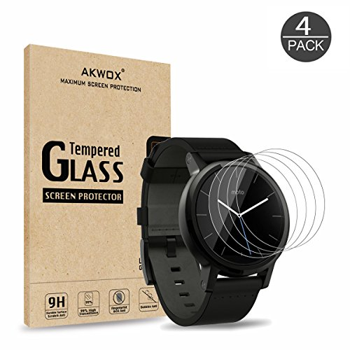 (Pack of 4) Tempered Glass Screen Protector for Moto 360 42mm (2nd Gen), Akwox [0.3mm 2.5D High Definition 9H] Premium Clear Screen Protective Film for Motorola Moto 360 42mm