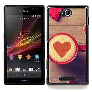 """Qstar Arte & diseño plástico duro Fundas Cover Cubre Hard Case Cover para Sony Xperia C (Corazón del amor del café"""")"""