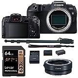 Canon EOS RP Mirrorless DSLR Camera Body, Lens Converter, Lexar 633x U3 64GB Memory Card, Monopod and Spare Battery