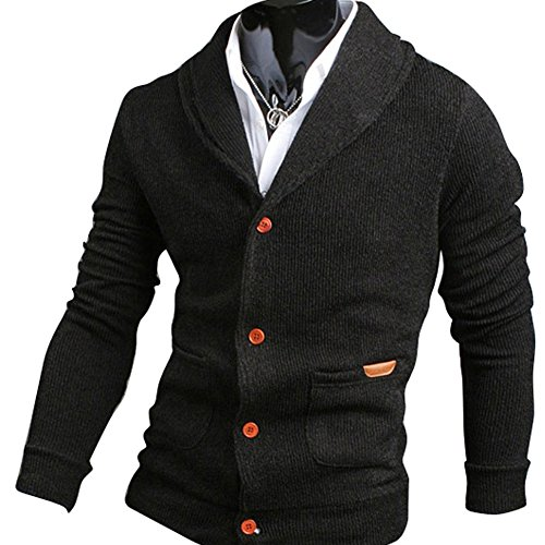 Mens Casual V-neck Cardigan Sweater Black XXL