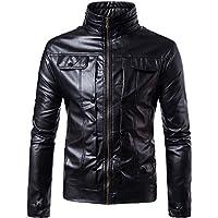 ღ Ninasill ღ Mens Autumn&Winter Biker Motorcycle Zipper Outwear Warm Coat (M, Black)