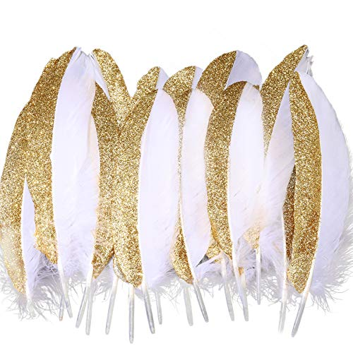BABEYOND 42 Pcs Gold Dipped Feather Goose Feather Natural Craft DIY Decoration Feather for Party Decoration Wedding Dress Up Room Decoration (White & Gold)