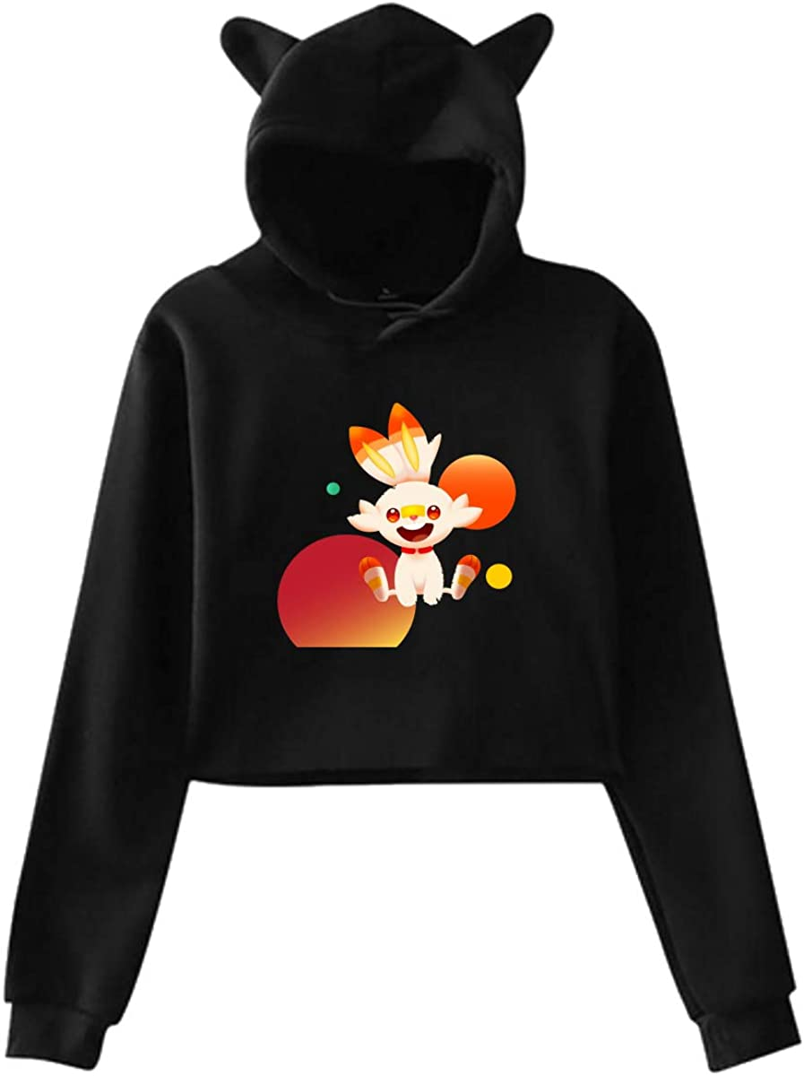 Hoodie Sweater Cat Ear Scor-Bunny Moon Tees Hooded Girl Crop Tops Lovely Womans Costume Black