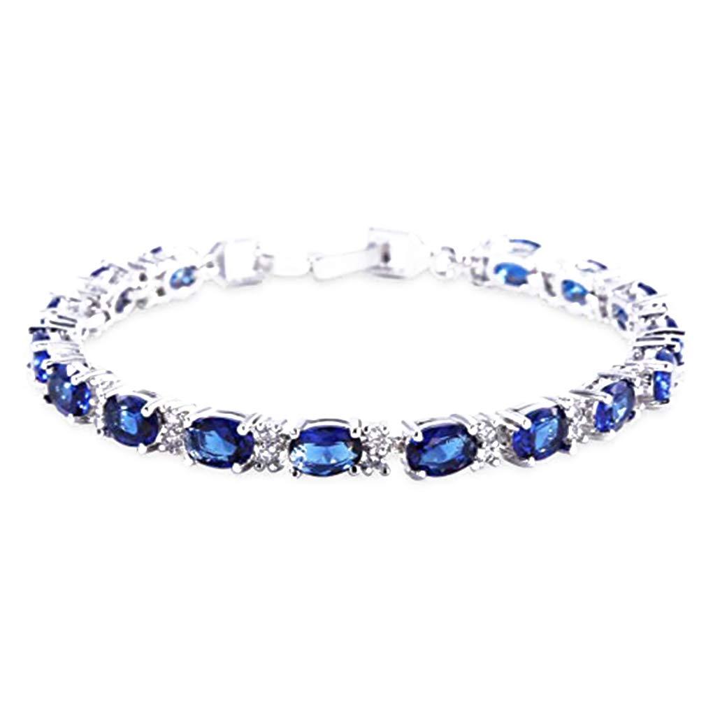 fish Blanc Electroplated Zircon Blue Crystal Bracelet Roman Saphir Couleur cha/îne Lien