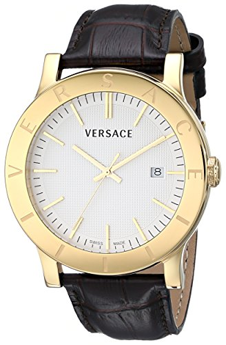 Versace Men's VQB030000 Acron Gold Ion-Plated Watch with Brown Leather Band