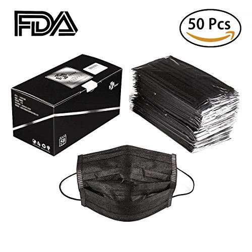 100 Pack Disposable Face Mask, Earloop Dust Mask Thicker Super Filter Pollen Dust and Bacteria, Anti Allergy Dental Medical Procedure Mask - FDA Registered & Approved