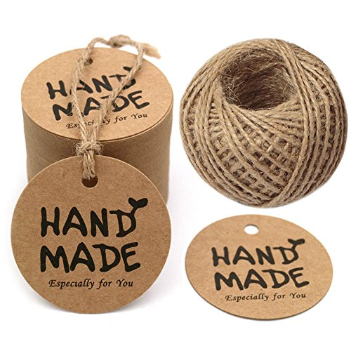 G2Plus HAND MADE Kraft Paper Gift Tags, 100 PCS Personalized Round Tags with 100 Feet Natural Jute Twine Perfect for DIY & Crafts, Wedding Party Favor
