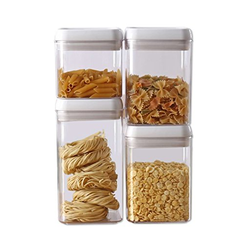 Easy Lock Airtight Kitchen Storage Containers 4-Extra Large(XL) Set Plastic Canisters With Vacuum Seal Lids, White (1.8gallons / 6.7L)