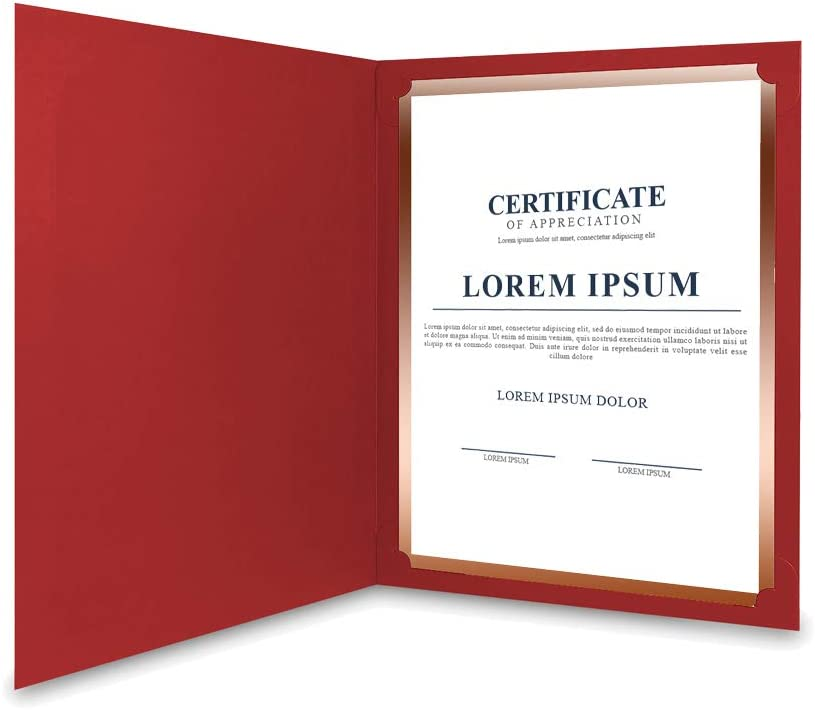 Diploma Covers Gold Foil Border Red, 30 Pack Document Papers for Letter Size 8.5x11 Certificates Cardstock SUNEE Certificate Holders