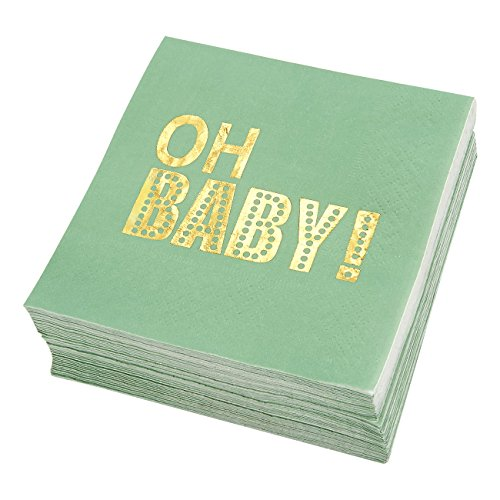 Baby Shower Cocktail Napkins - 50 Pack Gold Foil Oh Baby Disposable Paper Party Napkins, Perfect for Baby Shower Decorations and Gender Reveal Party Supplies, 5 x 5 Inches Folded, Mint Green ()
