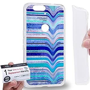 Case88 [Huawei Nexus 6P (2015)] Gel TPU Carcasa/Funda & Tarjeta de garantía - Art Fashion Blue Melting Stripes