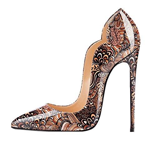 Scarpa Davanti EDEFS High Ritaglio Heels Tacco Fiore Classico Chiuse col marrone Scarpe Donna qqzwvgU