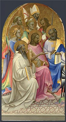 fan products of 'Lorenzo Monaco-Adoring Saints Left Main Tier Panel,1407-9,' Oil Painting, 30x55 Inch / 76x140 Cm ,printed On High Quality Polyster Canvas ,this High Definition Art Decorative Prints On Canvas Is Perfectly Suitalbe For Hallway Decor And Home Decoration And Gifts