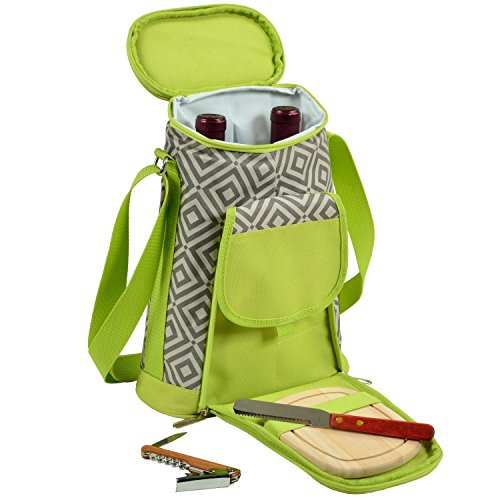 - Picnic at Ascot Stylish 2 Bottle Insulated Wine Tote Bag With Cheese Board, Granite Grey/Green