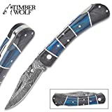Timber Wolf Rainshadow Handmade Pocket Knife/Folder – Hand Forged Damascus Steel, File Worked Scalloping – Royal Blue and Smoky Black/Gray Pakkawood – Collectible, Everyday Carry, Gift – 4″ Closed Review