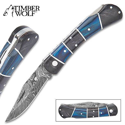 Timber Wolf Rainshadow Handmade Pocket Knife Folder – Hand Forged Damascus Steel, File Worked Scalloping – Royal Blue and Smoky Black Gray Pakkawood – Collectible, Everyday Carry, Gift – 4 Closed
