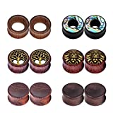 IU Mode 6Pairs Natural Organic Wood Hollow Double Flared Flesh Tunnels Ear Expander 5/8''(16mm)