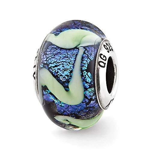 Sterling Silver Reflection Blue with Green Swirls Glass ()