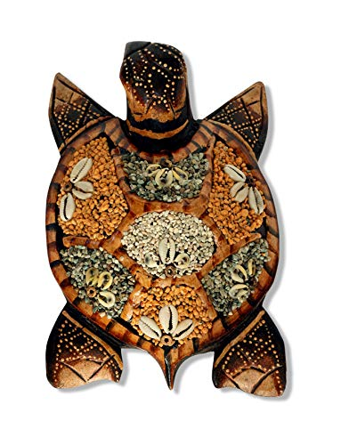 - G6 COLLECTION Wooden Tortoise Turtle Wall Hanging Home Decor Sculpture Statue Hand Carved Decorative Accent Figurine Handcrafted Handmade Seaside Tropical Nautical Ocean Coastal Decoration (Gray)