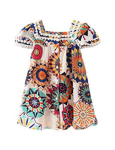 Hipea Toddler Baby Girls Clothes Bohemian Short Sleeveless Flower Princess Floral Dress Princess A-line Skirt Formal Kids Summer Outfits(Size120/4-5T) (Little Girl Clothes)