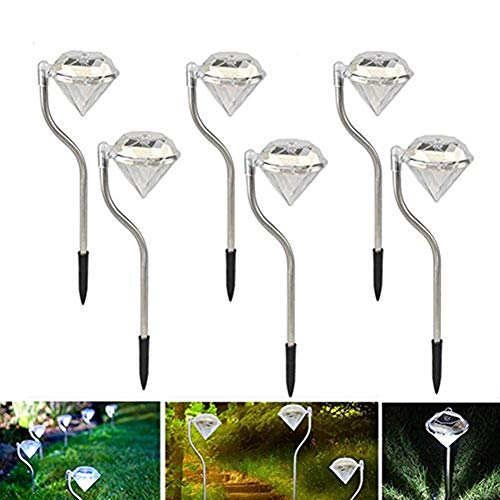 sptblanche Outdoor LED Solar Light Pathway Landscape Ground Mount Lamp Diamond Shape Crystal Garden Lamp Fence Solar Lamp LED Spot Light 6 pack by sptblanche