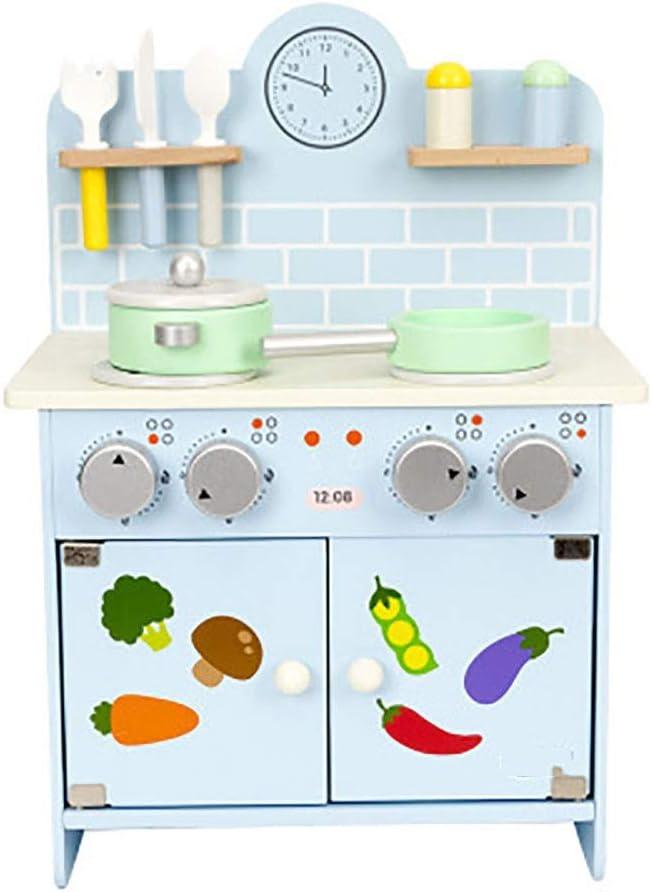 ままごと用調理器具・食器 教育子供たちはキッチンのおもちゃのために保育園と幼稚園の幼児のキッチンプレイセットボーイズガールズ玩具はロールプレイゲームギフトを調理ふりふり 子供用 女の子 男の子 おもちゃ (Color : Blue, Size : 23x49x30cm)
