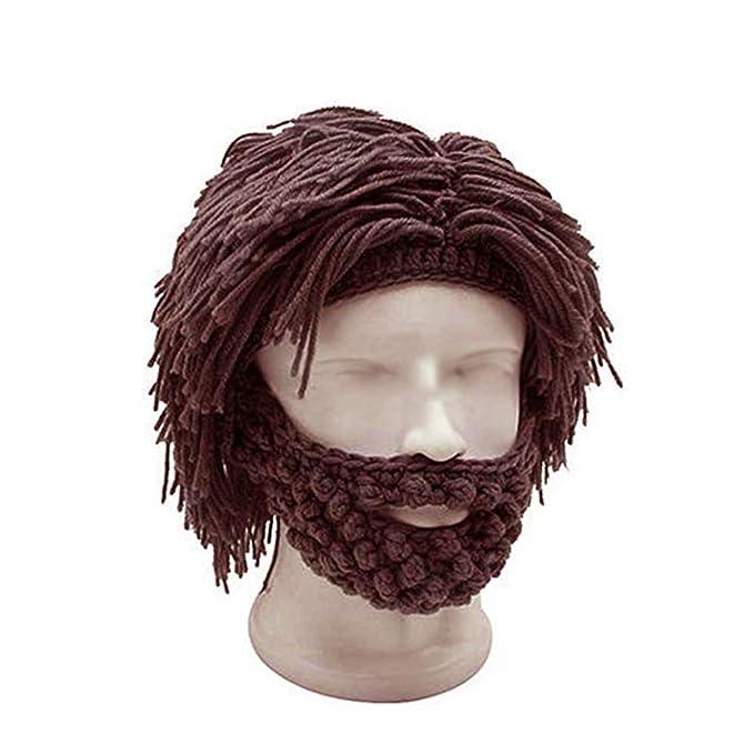e0214ea93171 Men Women Knit Bearded Hats Handmade Wig Winter Warm Ski Mask Beanie ...