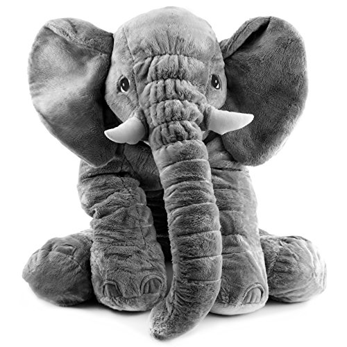 Big Elephant Plush Stuffed Toy 19 Inch Tall by 22 Inch Long, Large Animal Plush (Jungle African Elephant)