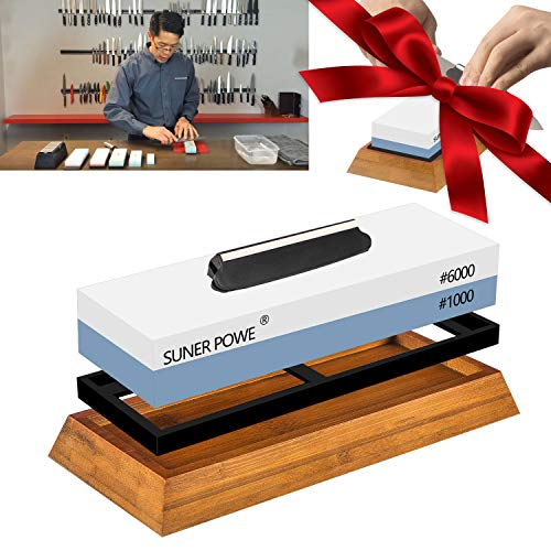 SUNER POWER KSS01 Professional Dual 1000/6000 Japanese Grit Whetstone-Knife Sharpening Stone Kit Included Non-Slip Bamboo Base & Angle Guide-Perfe, Large, White-Blue