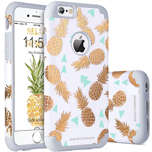 iPhone 6S Plus Case, iPhone 6 Plus Case Pineapple, BENTOBEN Slim Gold Pineapple Design Dual Layer Hybrid Shockproof Hard Back Bumper Protective Case for iPhone 6S Plus/6 Plus (5.5 inch),White/Gold