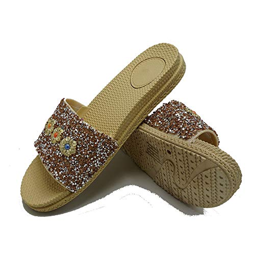 Women Glitter Summer Flat Slippers Jeweled Open Toe Slide Sandals Casual Shoes KA5 Nude10