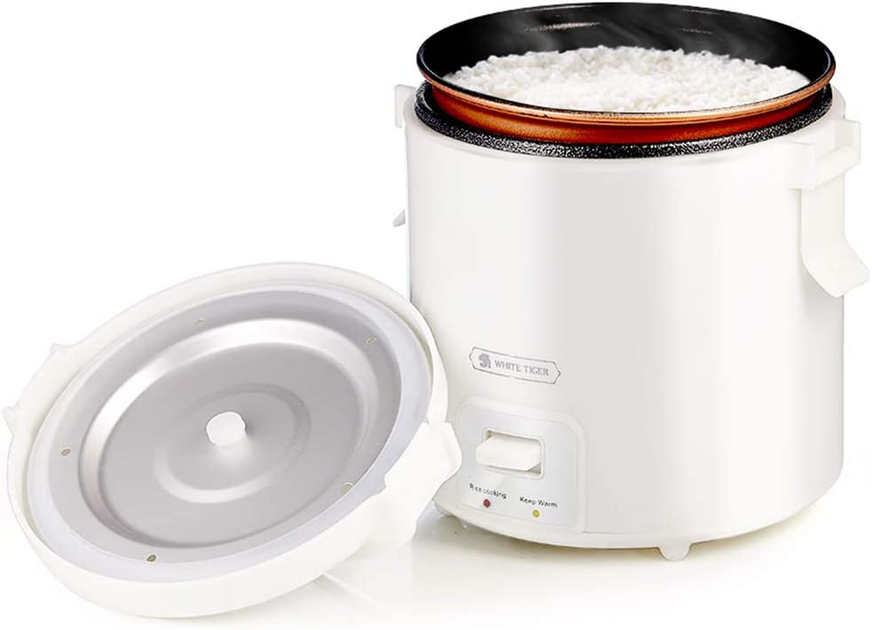 1.0L Mini Rice Cooker,WHITE TIGER Portable Travel Steamer Small,15 Minutes Fast Cooking, Removable Non-stick Pot, Keep Warm, Suitable For 1-2 People