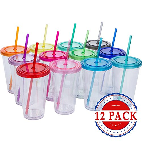 Top House Clear Acrylic Tumblers with Colored Lids and Straws, 16oz Travel Beverage Cups, Insulated Double Wall, Craft Bridesmaid Holiday Gifts, Bulk Pack of 12 (12, Assorted Colors)