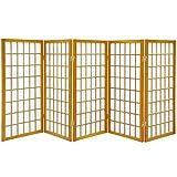 Oriental Furniture 3 ft. Tall Window Pane Shoji Screen - Honey - 5 Panels