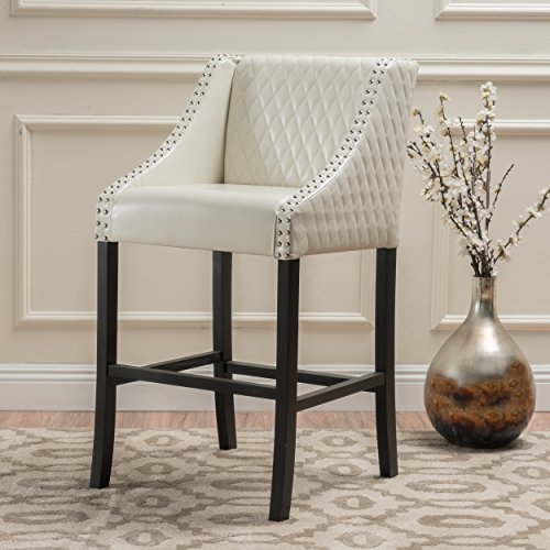 Transitional Milano 28-inch Quilted Ivory Bonded Leather 28-inch Barstool White Finish
