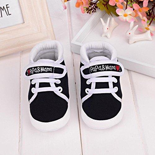 Ularmo Schuhe für 0-18 Monate Baby, Weiche Sohle Kleinkind-Schuhe Segeltuch-Turnschuh (13cm(12-18 Monate), Schwarz)