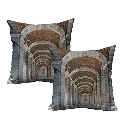 Fashion Custom Pillowcases,Apartment Decor Collection,Royal Palace Corridor Madrid Spain Historic Famous European Landmark Facade Picture Print,Grey 24