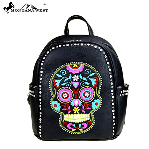 Sugar Skull Black Ladies Backpack for Bikers