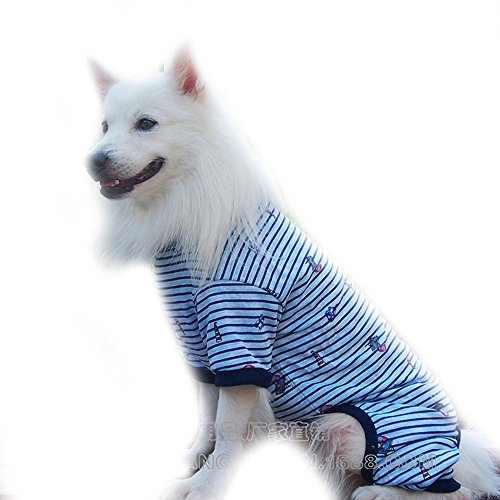 FLAdorepet Strip Big Large Dog Labrador Jumpsuit Hoodie Clothes Cotton Dog Pajamas Jacket Coat Golden Retriever Dog Clothing for Big Dog (3XL, Blue) Review