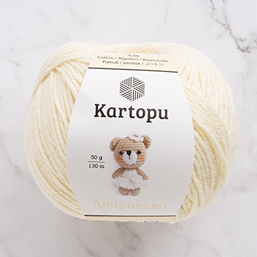 3 Ball Kartopu Amigurumi Total 5.28 oz Each 1.76 oz (50g)/142 Yrds (130m), 49% Cotton, Super Soft, Dk Light Baby Yarn, K025-Cream (Yarn Weight Cotton Dk)