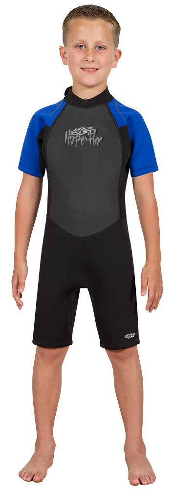 Hyperflex Access Child's Backzip Shorty Wetsuit - Warm, Comfortable Kid's Springsuit with 4-Way Stretch Neoprene and SPF Protection - Adjustable Collar and Flat Lock Construction,(Black/Blue, 6)