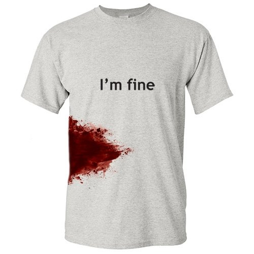 I'm Fine Graphic Zombie Slash Movie Halloween Injury Novelty Cool Funny T Shirt M Ash