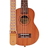 MUSIC FIRST Original Design Hand Made Jute Woven & Genuine Leather Bohemian Style Ukulele Strap Ukulele Shoulder Strap