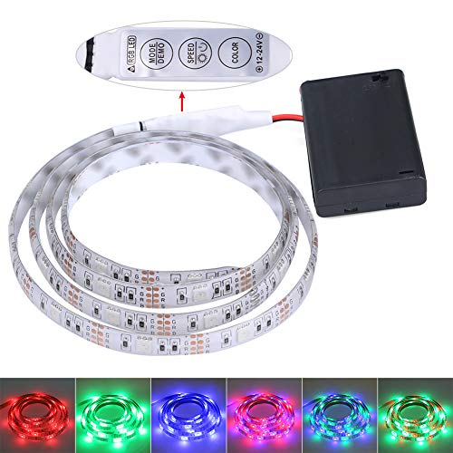 FISHBERG Waterproof 3528 SMD 120 LEDs Strip Lights Battery Operated 2M 6.6Ft Led Flexible Light Strip Crafts Lighting - Strip Moldable