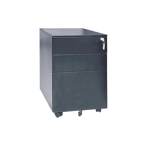 MIAOLULU móvil archivador Pedestal bajo Mesa con 3 cajón para A4, bloqueable,Black