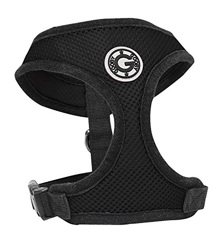 (Gooby Soft Breathable Small Mesh Dog Harness - Black )