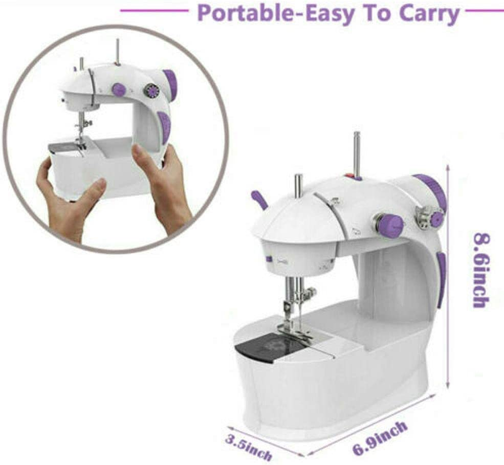 Hezhu Mini Portable Hand-held Clothes Sewing Machine Home Travel LED Electric DIY