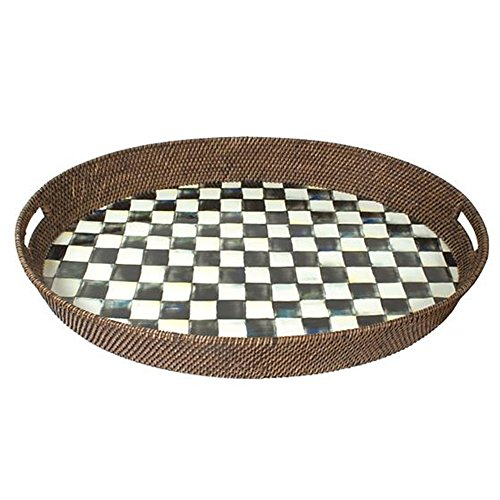 MacKenzie-Childs Courtly Check Rattan & Enamel Party Tray by MacKenzie-Childs
