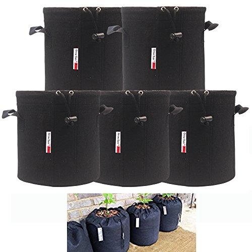 - Growsun 3 Gallon 5 Bags Drawstring Lock-Top Grow Bag Plant Fabric Pots with Handles